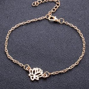 Gold Lotus Flower Blossom Anklet